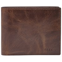 Fossil Derrick Rfid Blocking Large Coin Pocket Bifold Wallet Dark Brown