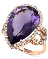 Macy's Amethyst 11 1 2 Ct. T.W. And Diamond 3 4 Ct. T.W. Teardrop Ring In 14K Rose Gold