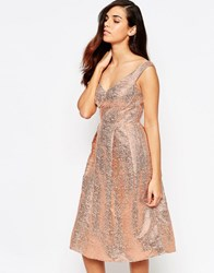 Lashes Of London Razzle Metallic Bandeau Midi Prom Dress Rose Gold