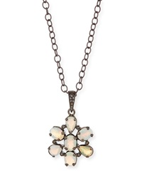 Opal Diamond Flower Pendant Necklace Siena Jewelry