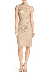 Adrianna Papell Women's Embellished Lace Sheath Dress Champagne