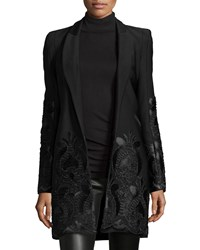 Alexis Marios Embroidered Open Front Coat Black Women's Size X Small Black Embroidery