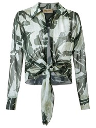 Adriana Degreas Silk Printed Shirt Green