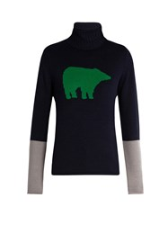 Perfect Moment Bear Intarsia Roll Neck Wool Sweater Navy Multi