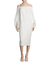 Camilla And Marc Off The Shoulder Lace Sheath Dress White
