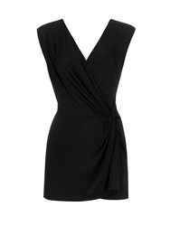 Wallis Black Sleeveless Knot Front Top