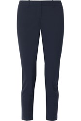Theory Testra Stretch Wool Crepe Tapered Pants Midnight Blue
