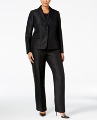 Le Suit Plus Size Three Piece Two Button Striped Pantsuit Black Eggplant
