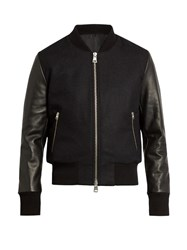 Ami Alexandre Mattiussi Zip Through Wool Blend And Leather Jacket Navy