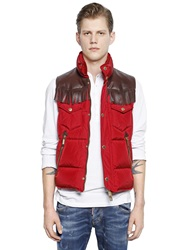 Dsquared Ranger Nylon And Leather Down Vest Red