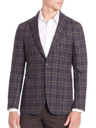 Saks Fifth Avenue Wool Plaid Sportcoat Olive Navy