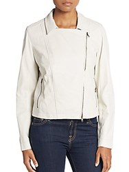 Eileen Fisher Perforated Leather Jacket Cement