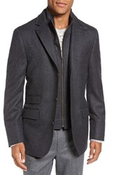 Flynt Men's Big And Tall Regular Fit Hybrid Wool And Cashmere Coat Grey