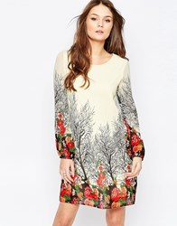 Yumi Long Sleeve Shift Dress Cream