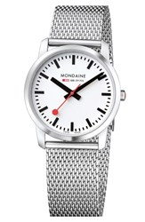 Women's Mondaine 'Simply Elegant' Mesh Strap Watch 36Mm Silver