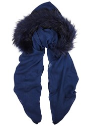 Charlotte Simone Navy Fur Trimmed Hooded Scarf