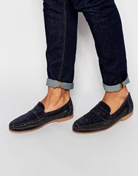 New Look Faux Suede Woven Loafers Navy