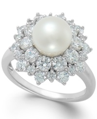 Arabella Cultured Freshwater Pearl 8Mm And Swarovski Zirconia Ring In Sterling Silver