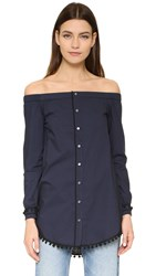 Derek Lam Off Shoulder Shirt Midnight