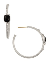 Judith Ripka Cushion Cut Hoop Earrings Gift Boxed