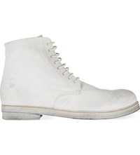 Marsell Leather Military Boots White