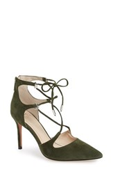 Marc Fisher Women's Ltd 'Toni' Lace Up Pointy Toe Pump Olive Suede