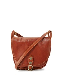 Neiman Marcus Small Buckle Leather Saddle Bag Cognac