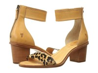 Frye Brielle Back Zip Sandal Leopard Haircalf Smooth Full Grain High Heels Tan