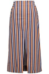 Tanya Taylor Ines Striped Cotton Blend Midi Skirt Multi