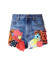 Christopher Kane Lace Embroidered Denim Shorts