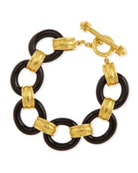 Elizabeth Locke 19K Gold And Black Jade Bracelet
