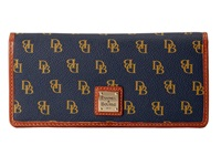 Dooney And Bourke Gretta Slim Wallet Navy Gold W Tan Trim Wallet Handbags
