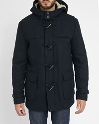 Selected Navy Shcarlyle Sheepskin Lined Hooded Duffle Coat