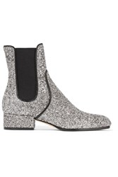 Jimmy Choo Monty Glittered Leather Chelsea Boots Silver
