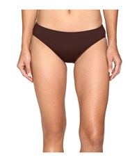 Lauren Ralph Lauren Chevron Solid Hipster Bottom Brown Women's Swimwear