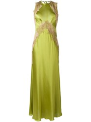 Alberta Ferretti Lace Insert Dress Green