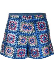 Manoush Sequined Floral Patchwork Shorts Blue