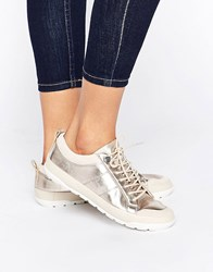Aldo Bissone Metallic Leather Trainers 82 Metallic Gold
