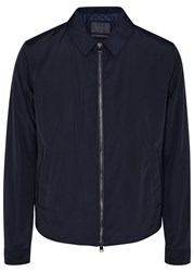Pal Zileri Navy Leather Trimmed Jacket