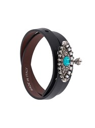 Alexander Mcqueen Jewelled Eye Double Wrap Bracelet Black