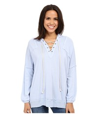Culture Phit Dagny Long Sleeve Hooded Lace Up Sweater Blue Women's Sweater