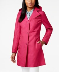 Anne Klein Button Front Trench Coat Fuschia