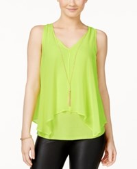 Amy Byer Bcx Juniors' Flyaway Front Tank Top With Necklace Citron