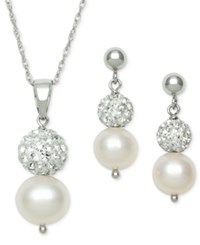 Macy's 2 Pc. Set Cultured Freshwater Pearl 6Mm And Crystal Bead Pendant Necklace And Earring Set In Sterling Silver