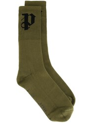 Palm Angels Initial Intarsia Socks Green