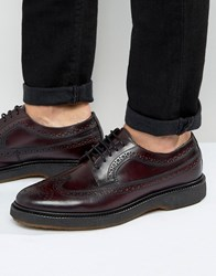 Asos Brogue Shoe In Burgundy Leather Burgundy Red