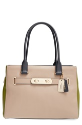 'Swagger' Colorblock Leather Tote Stone
