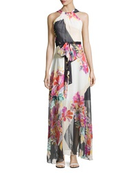 Muse Floral Chiffon Grecian Maxi Dress White Multicolor