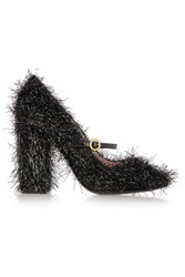 Boutique Moschino Tinsel Covered Leather Mary Jane Pumps Black