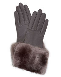 Ted Baker Emree Faux Fur Cuff Leather Gloves Grey
